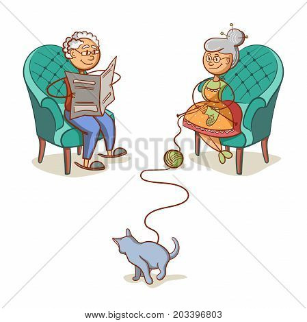 Happy grandparents isolated on white background. Grandfather reading a newspaper. Grandmother knits socks. The cat playing with a ball of yarn. Vector illustration