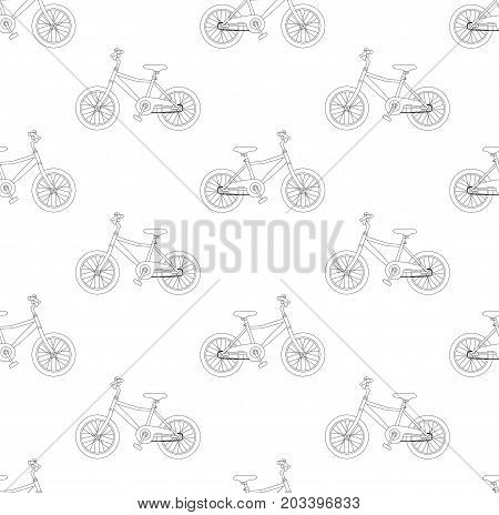 Black Bicycle Seamless on White Background. Vector Illustration.
