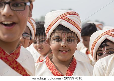 NEW DELHI INDIA - JANUARY 23 2017 : Indian schoolboys take part in rehearsal activities for the upcoming India Republic Day parade. New Delhi India