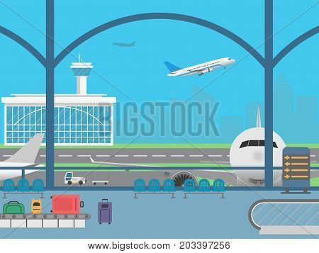 Airport terminal. Waiting room. Field with airplanes and flying airplane