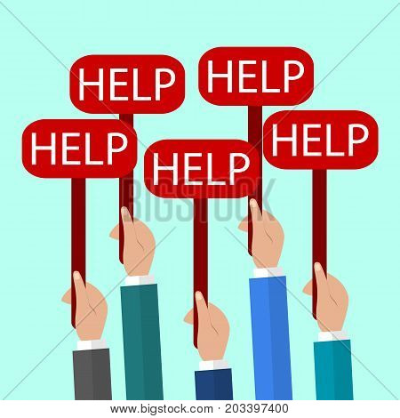Hands Holding a Signs with the Word Help. Flat Vector Illustration