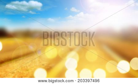 Blur abstract background concept Agricultural has sky and cloud Computer graphic of sun lighting and lens flare.