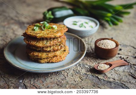 Quinoa Fritters With Zucchini, Garlic And Green Onion Served With Yoghurt Dip