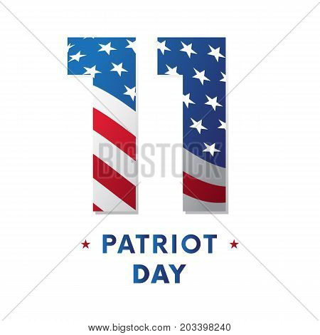 Patriot Day sticker or banner. Waving flag. Vector illustration.