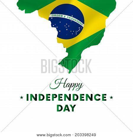Banner or poster of Brazil independence day celebration. Brazil map. Waving flag. Vector illustration.