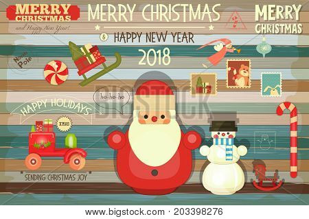 Christmas Greeting Card with Xmas Santa Claus Snowman on Color Old Wooden Background. Retro Style. Vector illustration.
