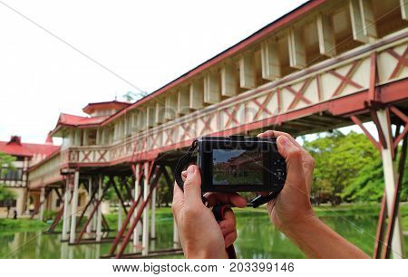 One Man Taking Picture of a Beautiful Building in Sanam Chan, Nakhon Pathom province of Thailand