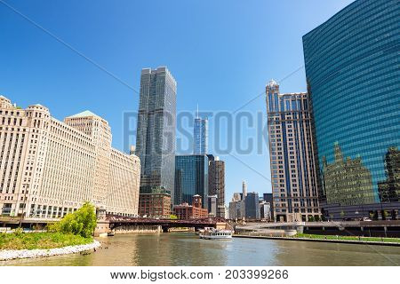 CHICAGO - MAY 12: Merchandise Mart and downtown Chicago on May 12 2017