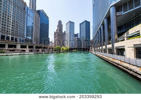 CHICAGO - MAY 12: View from the Chicago River in downtown Chicago on May 12 2017