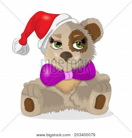 vector illustration of a sitting little bear cub in a Christmas hat