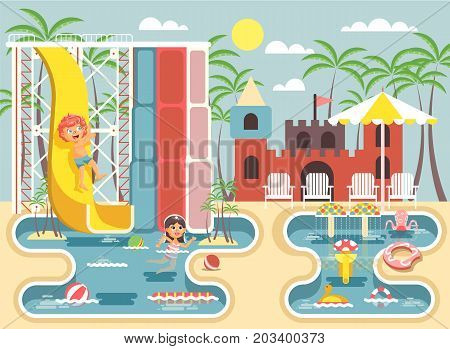Stock vector illustration cartoon characters children, boy riding water slide and girl swimming pool frolicking or resting aqua park, water attractions, deckchairs under sun umbrella flat style