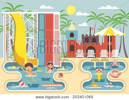 Stock vector illustration cartoon characters children, boy and girl swimming pool near water slide, frolicking or resting in aqua park, water attractions, deckchairs under sun umbrella flat style