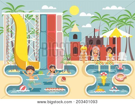 Stock vector illustration cartoon characters boy and girl swimming pool near water slide, frolicking, resting in aqua park, water attractions, children sitting deckchairs under sun umbrella flat style