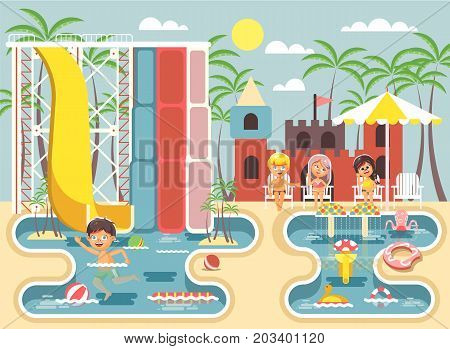 Stock vector illustration cartoon characters lonely boy swimming pool near water slide, frolicking, resting in aqua park, water attractions, children sitting deckchairs under sun umbrella flat style