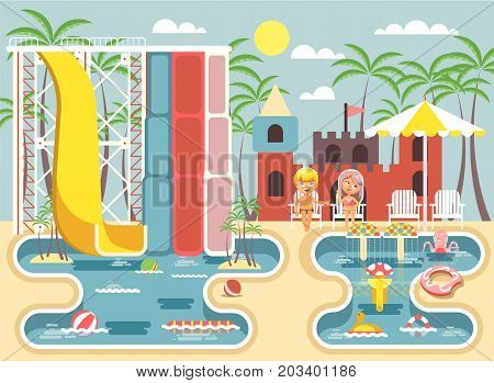 Stock vector illustration cartoon characters children boy and girl sitting deckchairs under sun umbrella near swimming pool water slide, frolicking, resting in aqua park, water attractions flat style