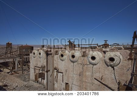 Chacabuco, Antofagasta Region, Chile - August 19, 2017: Derelict nitrate mining town of Chacabuco in the Atacama Desert of northern Chile