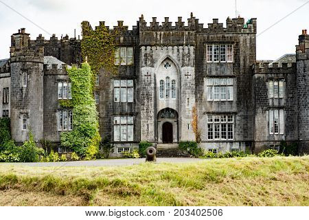 COUNTY OFFALY, IRELAND - AUGUST 23, 2017: View of Birr Castle in County Offaly, Ireland
