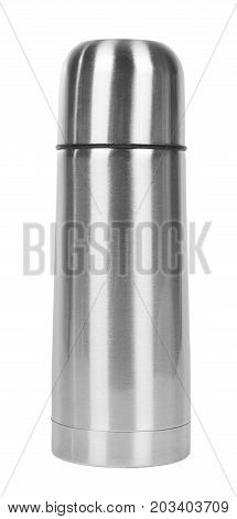 Metal Thermos For Trips Isolated On White Background