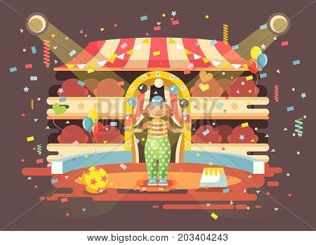 Stock vector illustration cartoon character lonely clown juggles balls, performance interior empty circus, show on arena, perform, training flat style for motion design, infographics, banner, brochure