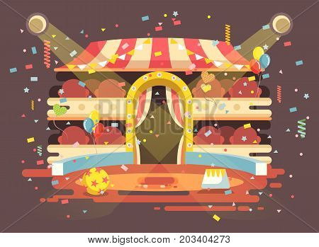 Stock vector illustration cartoon performance interior empty circus background, show on arena, perform with confetti in flat style for motion design, infographics, banner, brochure