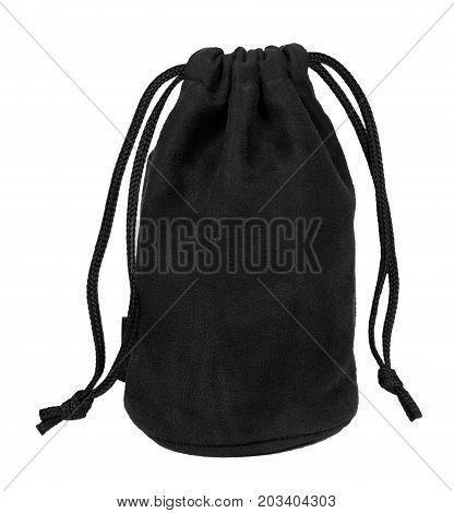Black Textile Sack Isolated On White Background