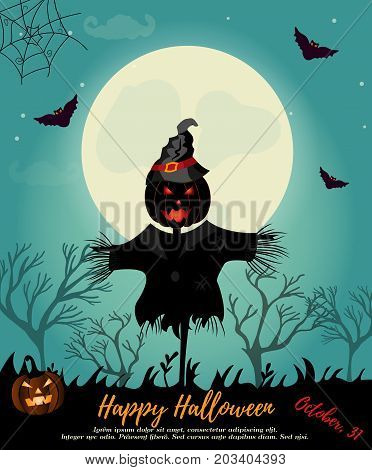 Halloween background with scarecrow, full moon, pumpkin and bats. Invitation template