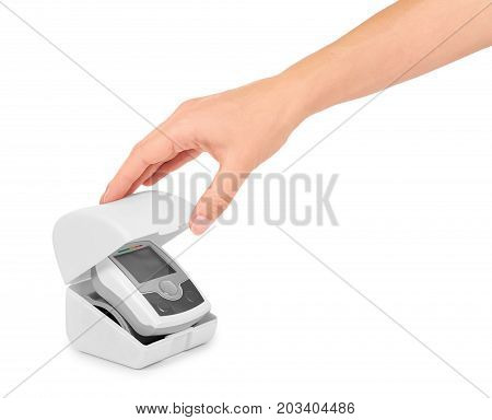 Blood Pressure Measurement Equipment Tensiometer In Hand Isolated On White Background