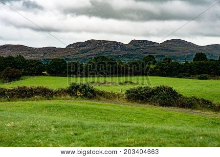 COUNTY SLIGO, IRELAND - AUGUST 25, 2017: View of Carrowmore Megalithic Cemetery in Sligo, Ireland