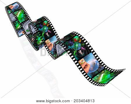 Film roll with color pictures (communication) on white background 3D illustration.