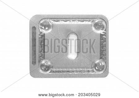 Medicine Pills Packed In Blisters Isolated On White Background