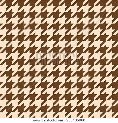Seamless houndstooth pattern in brown tones. Vector image.