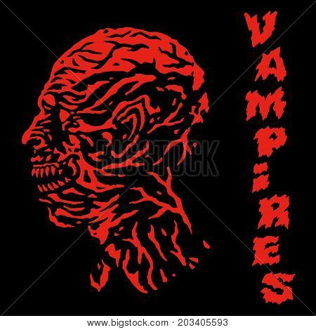The red vampire with veins on the head. Vector illustration. Scary character face. Genre of horror.