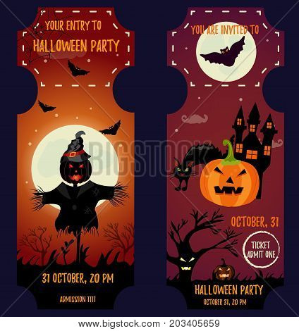 Ticket Halloween Party. Invitation template. Halloween background with creepy house, moon, scarecrow, cat, scare pumpkin and bats
