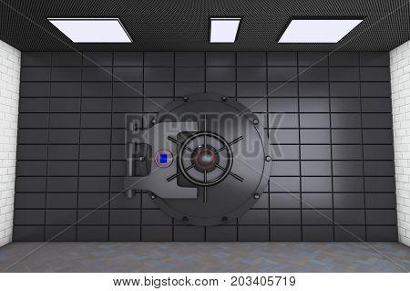 a big metallic bank vault (3d rendering)