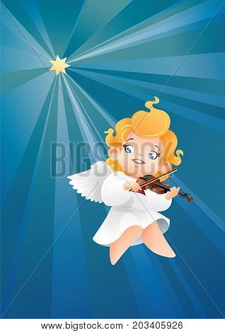 Christmas background design with violinist angel musician. Happy smiling flying on a night sky cute cartoon angel kid play music on violin to star. for Christmas card, music collection box cover