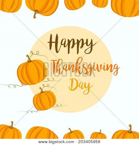 Thanksgiving background with yellow pumpkins. Can be used as invitation, postcard, retail template, offer