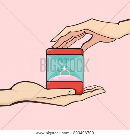Marriage proposal. A man gives a woman box with diamond ring. Vector illustration.