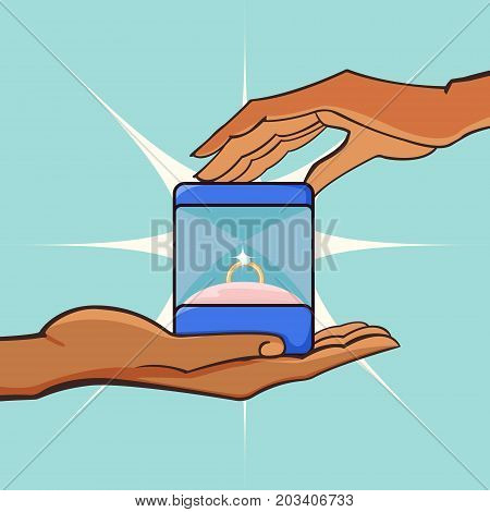 Marriage proposal. A man gives a woman a box with a diamond ring. Vector illustration