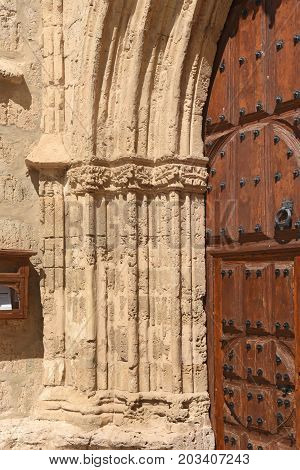 Close Up Of Portico Of Church Of San Miguel In Ampudia. Spain