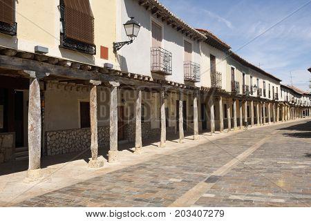 Street With Arcades In Ampudia, Tierra De Campos, Palencia Province, Castilla Y Leon, Spain
