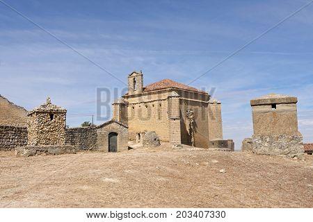 Church Near Castle In Ampudia, Castilla Y Leon, Spain