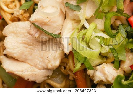 Close up view of pork with onion