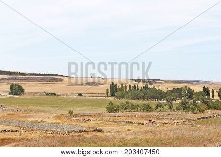 Landscape Of Castilla Y Leon Near The Village Of Montealetre De Campos In The Region Of Tierra De Ca