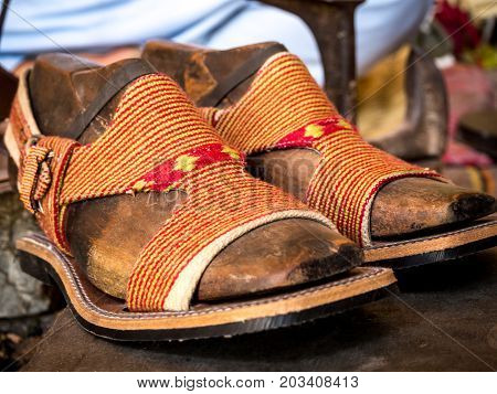 Traditional Afghani style sandal only use for male also known as Peshawari Chappal in Pakistan