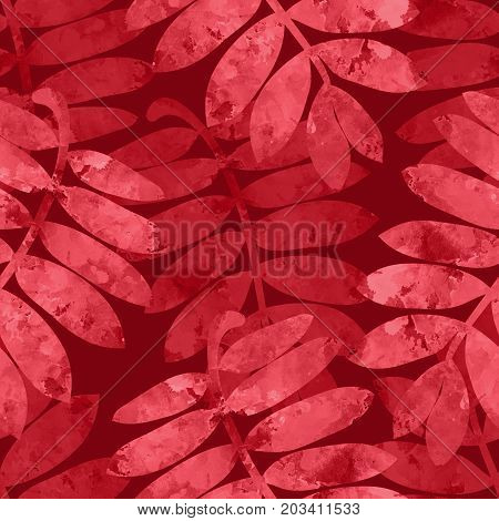 Watercolor Rowan Leaves On Dark Background