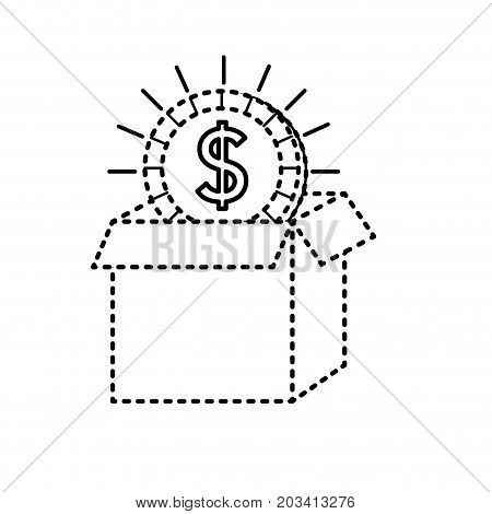dotted shape open box with coin cash money inside vector illustration