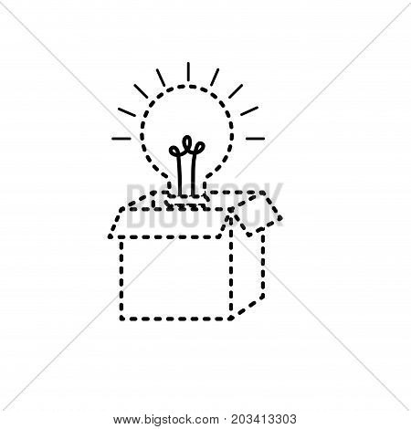 dotted shape open box with electric bulb light vector illustration