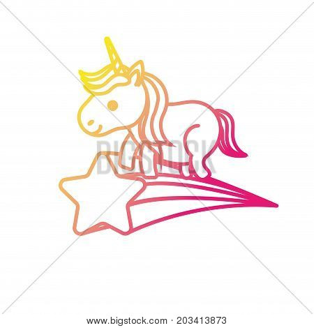 silhouette nice unicorn with horn and shooting star vector illustration