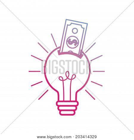 line bulb idea with bill cash money vector illustration