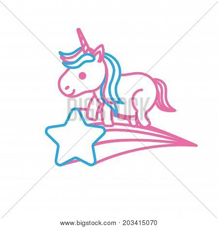 line nice unicorn with horn and shooting star vector illustration